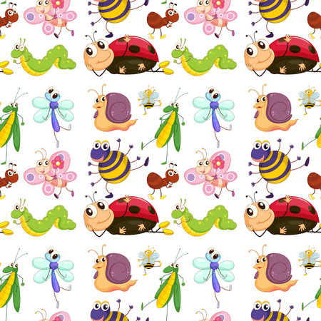 cartoon worm: Illustration of a seamless with cute insects