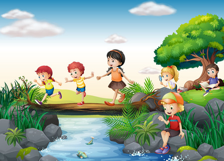 young girls nature: Illustration of children crossing a stream