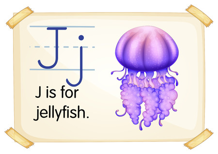 Illustration of a flashcard with letter J Vector