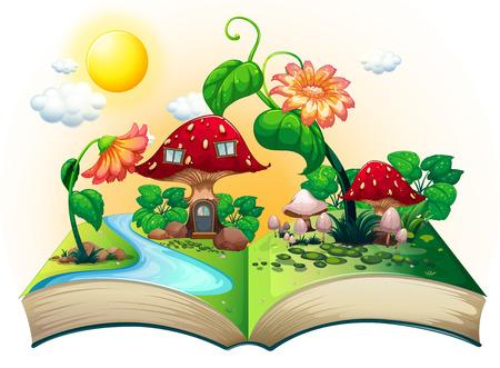 버섯 하우스와 함께 팝업 책의 그림