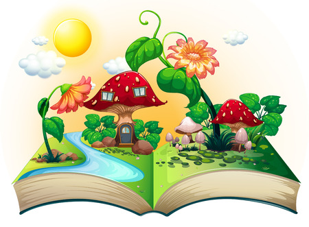 Illustration of a popup book with mushroom house Illustration