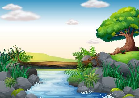 Ilustración de una escena de un arroyo