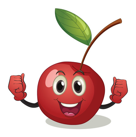 low calories: Illustration of a cherry with face