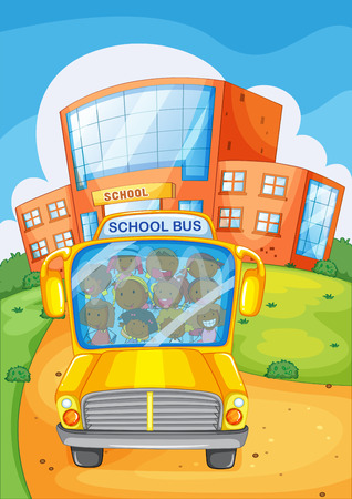 school picture: Illustration of a school bus in front of a school
