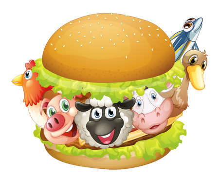 raw pork: Illustration of a single hamburger