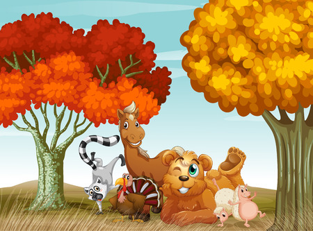 Illustration of many animals in the field Vector