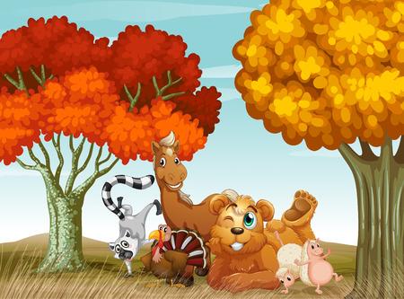 autumn scene: Illustration of many animals in the field