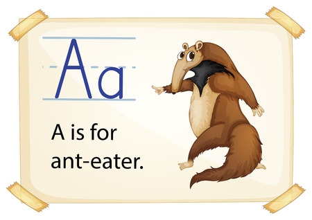 Illustration of a flashcard with letter A Vector