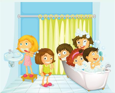 Illustration of children taking a bath