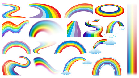rainbow cartoon: Illustration of a set of different shapes of rainbows