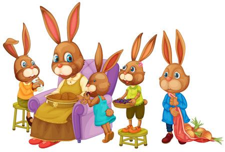 Illustration of a rabbit family