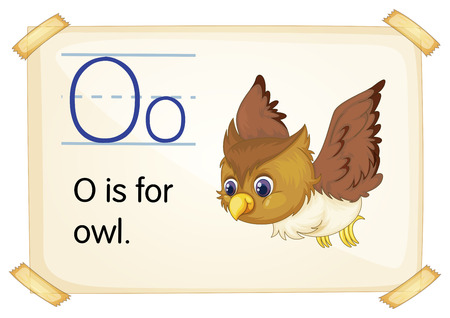 Illustration of a flashcard with letter O Vector