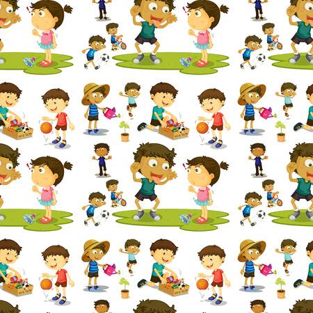 teasing: Illustration of a seamless children