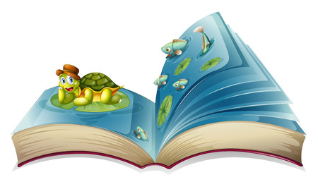Illustration of a popup book with a turtle on leave Vector