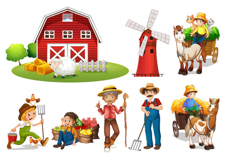 Illustration of a set of farmers and a barn