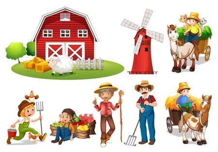 granja caricatura: Ilustración de un conjunto de agricultores y un granero