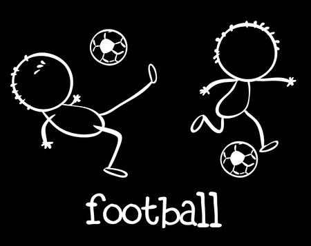 kicking ball: Illustration of stick men playing football