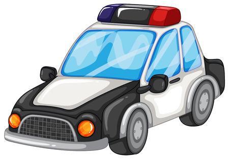carro caricatura: Ilustración de un coche de policía close-up