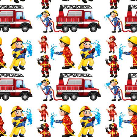 brandweer cartoon: Illustratie van een naadloze brandweerwagen en brandweermannen Stock Illustratie