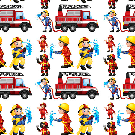 fireman: Illustration of a seamless fire truck and firemen