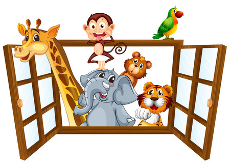 Illustration of many animals by the window Vector