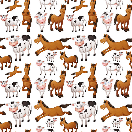 Illustration of a seamless cows and horses Vector