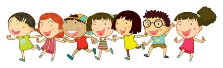 pals: Illustration of many children holding hands