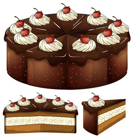 흰색 배경에 군침이 도는 초콜릿 케이크의 그림 일러스트