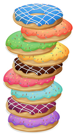 Illustration of the colourful doughnuts on a white background Vector