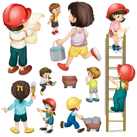 construction crew: Illustration of a construction crew on a white background Illustration