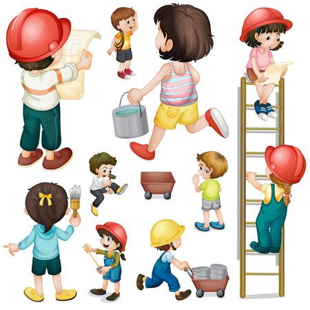 niño trepando: Ilustración de un equipo de construcción sobre un fondo blanco