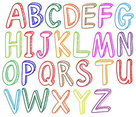 Illustration of the colorful font styles of the alphabet on a white background Vectores