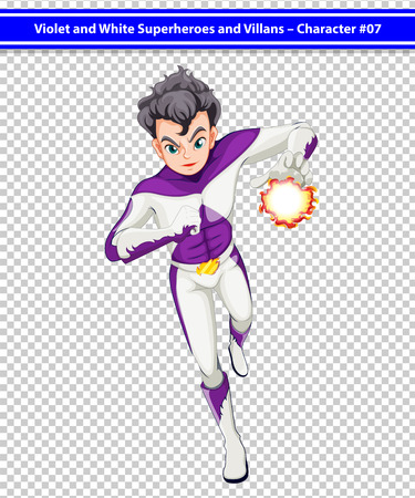 Illustration of a violet and white superhero with a blazing power Vector