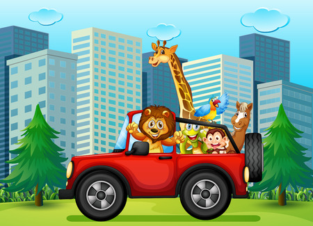 wild animals: Illustration of a jeepney with animals