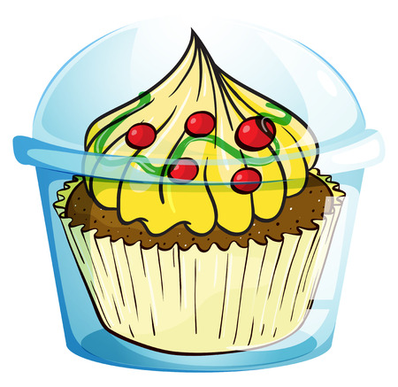 Illustration of a cupcake inside the container on a white background Vector