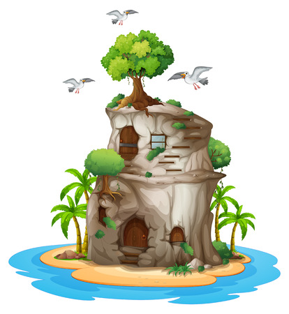 Illustration of a big house made of rock on a white background Vector