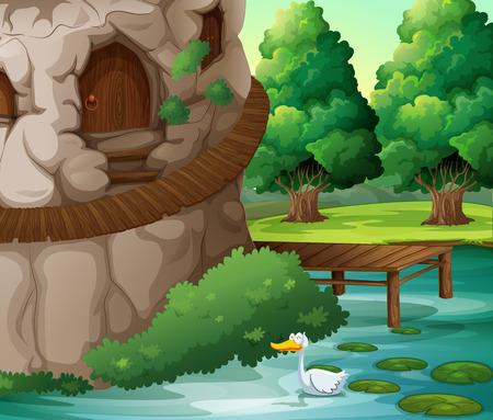 beaux paysages: Illustration d'un beau paysage avec un canard