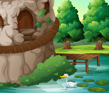 Illustration of a beautiful scenery with a duck Vector