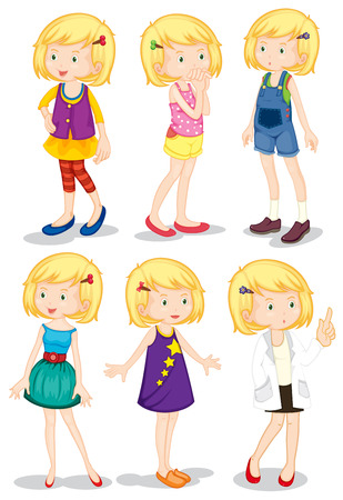 Illustration of the young blonde girls on a white background Vector