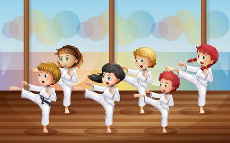 Illustratie van de kinderen het beoefenen van karate