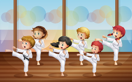 martial art: Illustration of the kids practicing karate
