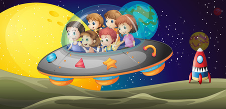 outerspace: Illustration of the kids in the outerspace