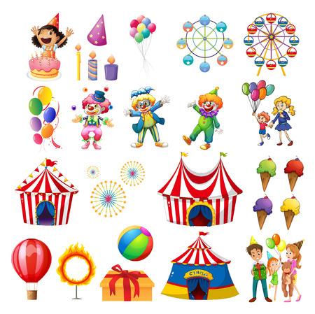 carro caricatura: Ilustraci�n de la felicidad en el carnaval en un fondo blanco