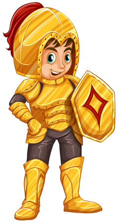 cartoon knight: Illustration of a smiling knight on a white background