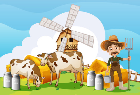 cartoon wood bucket: Illustration of the cows at the farm