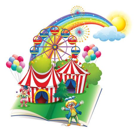 Ilustración de un libro de cuentos sobre el carnaval en un fondo blanco
