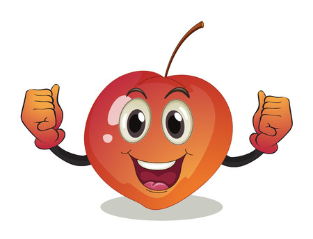 strong arm: Illustration of a smiling fruit on a white background