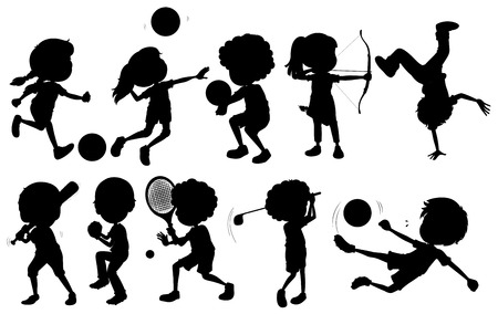 contingent: Illustration of the kids engaging in different sports on a white background Illustration