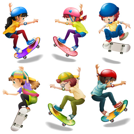 Illustration of the male and female skaters on a white background Vector