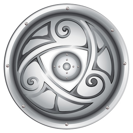 Illustration of a vikings shield on a white background Illustration